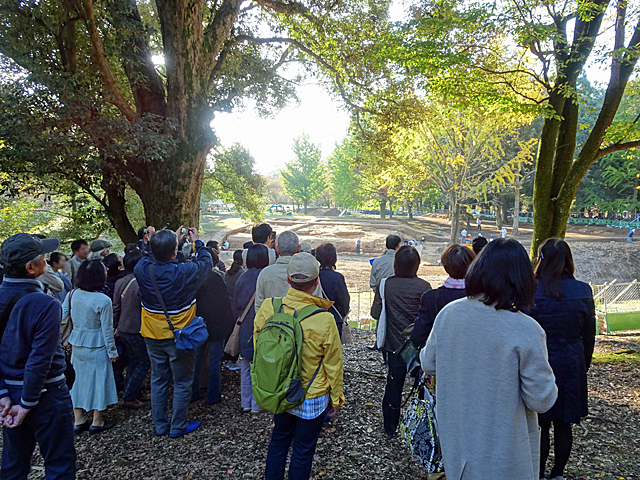 東大寺東塔院跡の発掘調査現場見学の様子