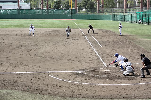 バントで着実に塁を進めます(対 姫路獨協大学戦 第2戦目)